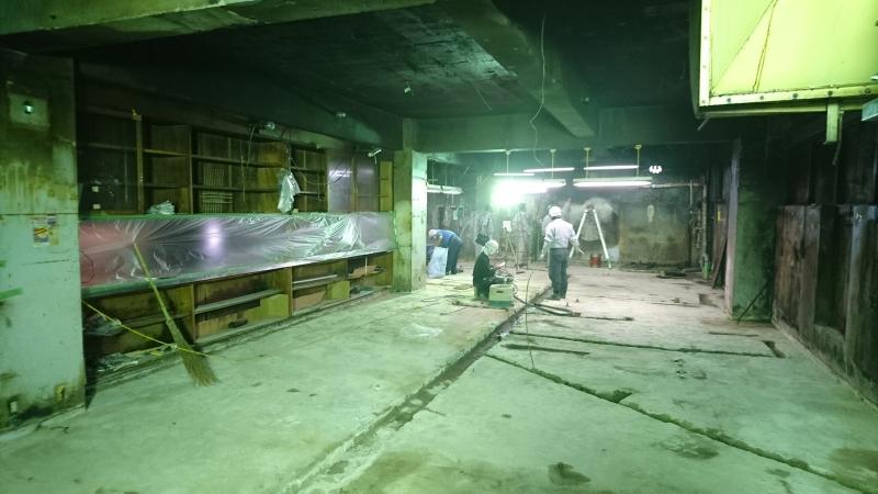 マルカン大食堂の工事状況1(床コンクリート加工)