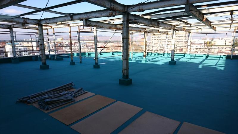 【マルカン存続PJ】工事の進捗状況~②屋上の防水塗装 編~