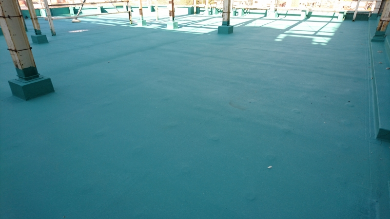 屋上の防水塗装完了後